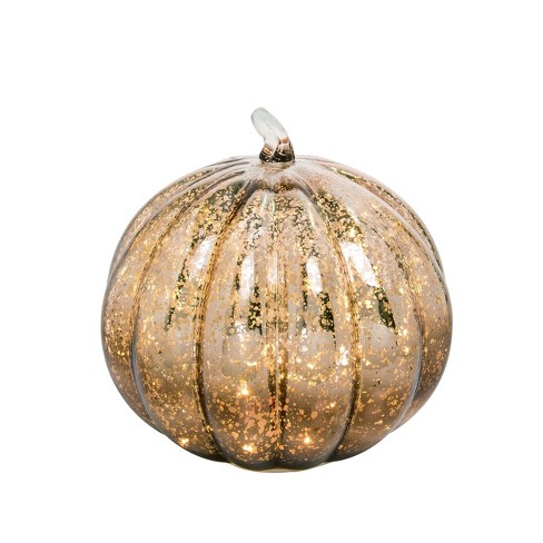 Transpac Glass 9 in. Gold Fall/Harvest Light Up Mercury Pumpkin - image 1 of 1
