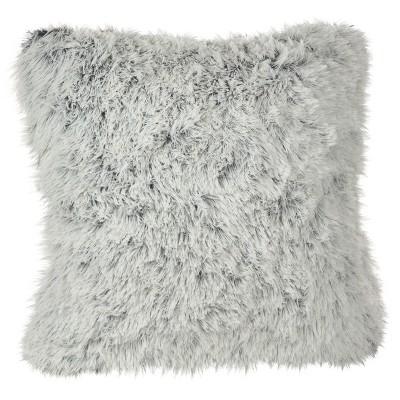 """White Juneau Two-Tone Faux Fur Throw Pillow (18"""")- Saro Lifestyle"""