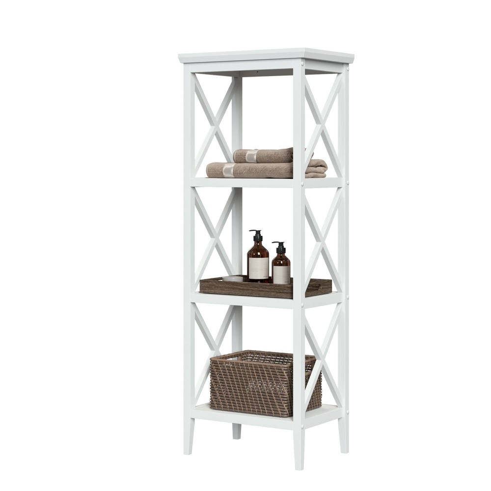 Image of 4 Shelf Cross Frame Etagere Tower White