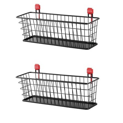 Rubbermaid Easy Installation Wall Mounted Heavy Duty Metal Storage Shed Small Wire Basket Accessory or Tool Organizer, Holds up to 20 Pounds (2 Pack)