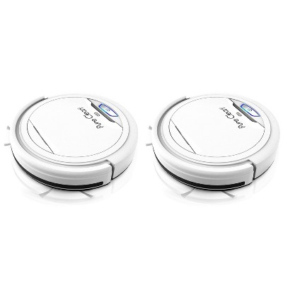 Pyle PUCRC25 PureClean Smart Automatic Robot Vacuum Compact Powerful Home Cleaning System for All Indoor Floor Surfaces, White (2 Pack)