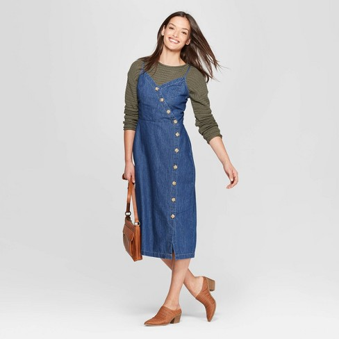 Women s Asymmetrical Button Front Denim Dress - Universal Thread™ Blue d6a1904c2