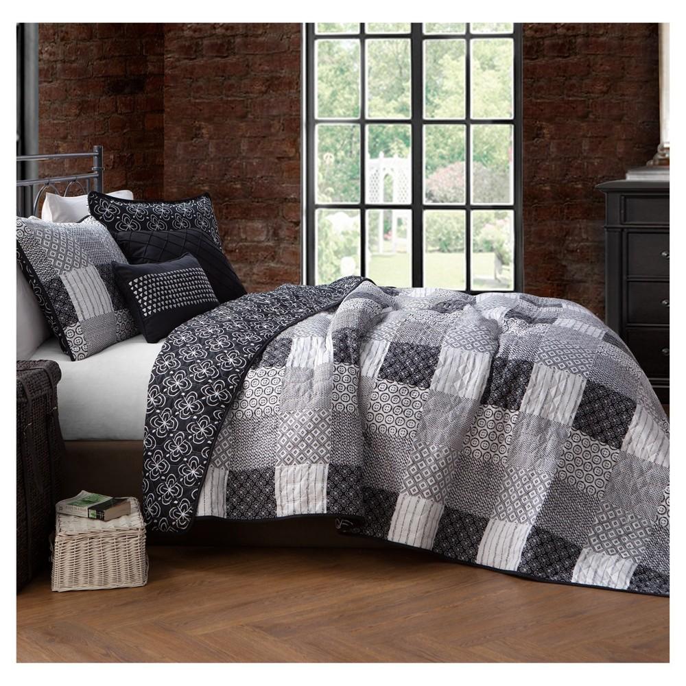 Image of Geneva Home Fashions Queen 5pc Avondale Manor Evangeline Quilt & Sham Set Black