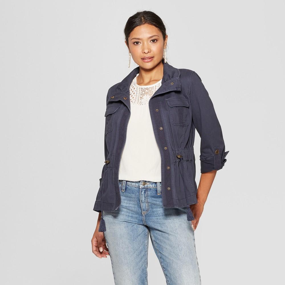 Women's Long Sleeve Lace Trim Fashion Jacket - Knox Rose Navy XL, Blue