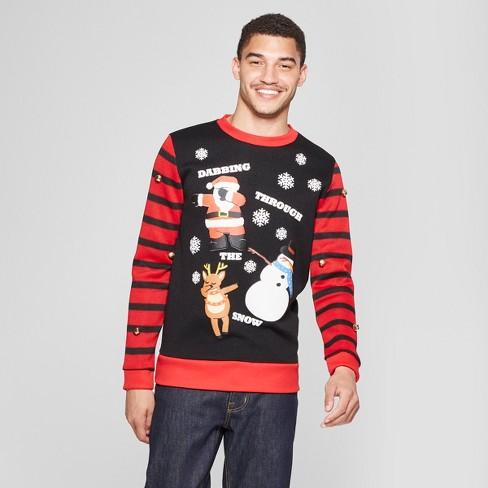 Mens Ugly Christmas Dabbing Through The Snow Sweatshirt Black