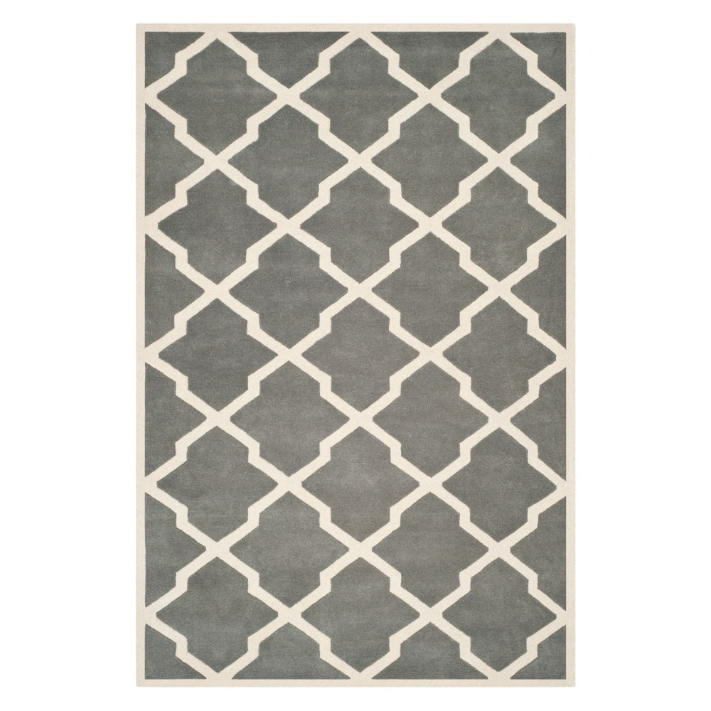 6'X9' Quatrefoil Design Tufted Area Rug Dark Gray/Ivory - Safavieh