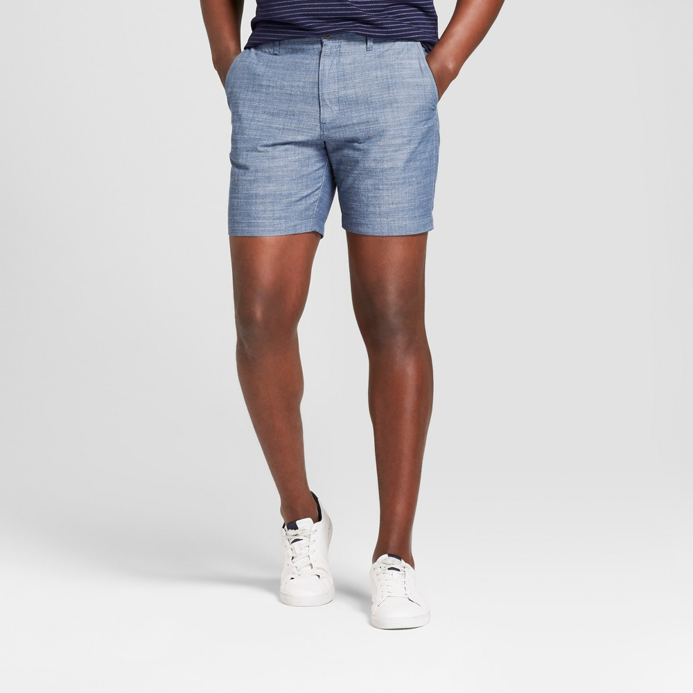 Men's 7 Chambray Linden Flat Front Shorts - Goodfellow & Co Blue Chambray 38