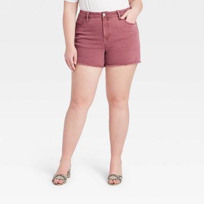 Women's Plus Size Midi Jean Shorts - Ava & Viv™ Purple