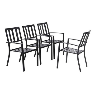 4pc Patio Stackable Metal Dining Chairs - Captiva Designs