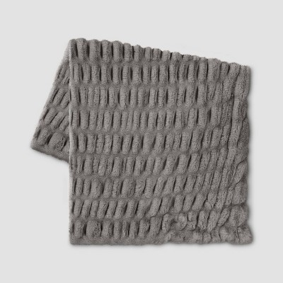 "50""x60"" Ruched Faux Rabbit Fur Throw Blanket Gray - Threshold™"