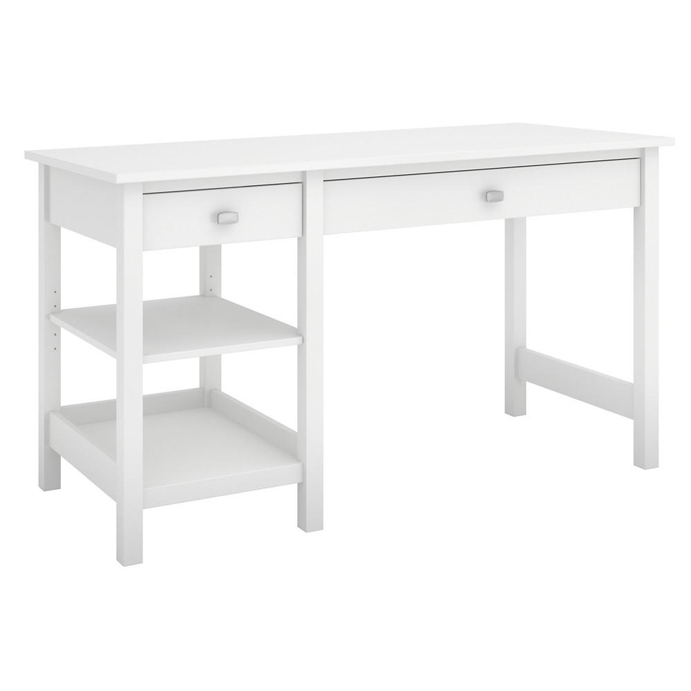 Broadview Computer Desk With Shelves  - Bush Furniture Broadview Computer Desk With Shelves Pure White - Bush Furniture