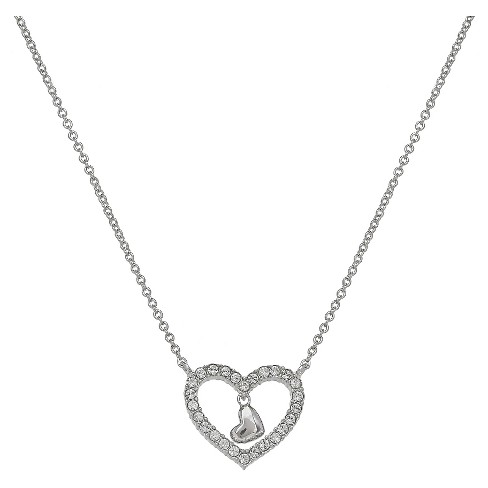 "Women's Heart Necklace with Clear Pave Crystal and Heart Drop in Silver Plate - Clear/Gray (18"") - image 1 of 1"