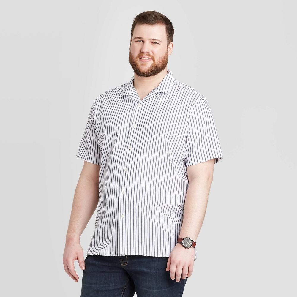 Men's Big & Tall Standard Fit Short Sleeve Seersucker Camp Shirt - Goodfellow & Co True White Stripe 2XBT was $19.99 now $12.0 (40.0% off)