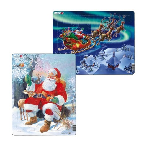 Larsen Puzzles Santa with Animals & Nordic Light Kids Puzzle Set - 2pk - image 1 of 3