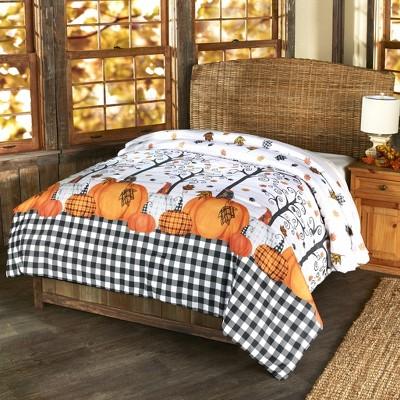 Lakeside Plaid Pumpkin Decorative Harvest Season Bed Comforter
