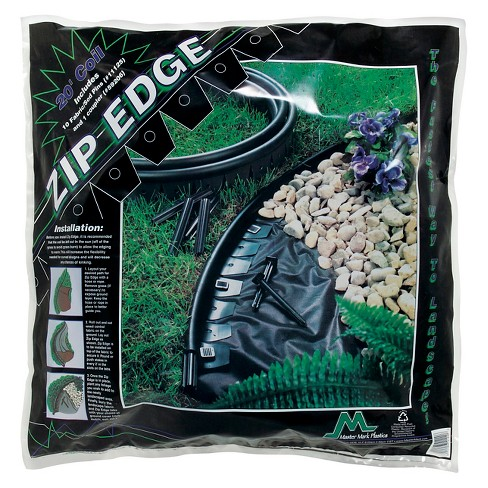 "ZipEdge Lawn And Garden Edging 20' With 10 6"" Sod Pins - Black - Master Mark Plastics - image 1 of 1"