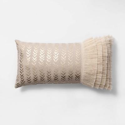 Metallic with Fringe Oversized Lumbar Throw Pillow Cream - Opalhouse™