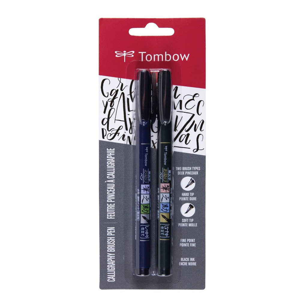 Image of 2pk Tombow Fudenosuke Calligraphy Fine Point Brush Pens - Black