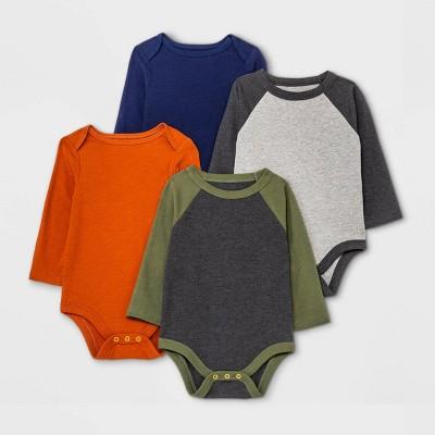 Baby Boys' 4pk Long Sleeve Bodysuit - Cat & Jack™ Olive Green/Navy/Orange 0-3M
