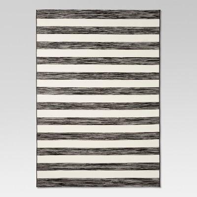 7'x10' Outdoor Rug Worn Stripe Black - Threshold™