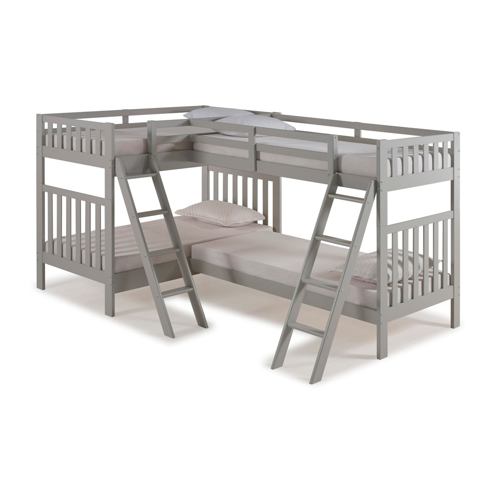 Twin Over Twin Aurora Over Bunk Bed With Quad Bunk Extension Dove Gray - Alaterre Furniture