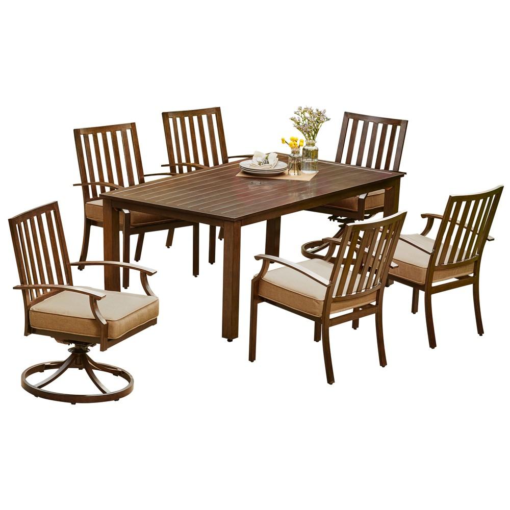 7pc Bridgeport Dining Set Tan - Royal Garden