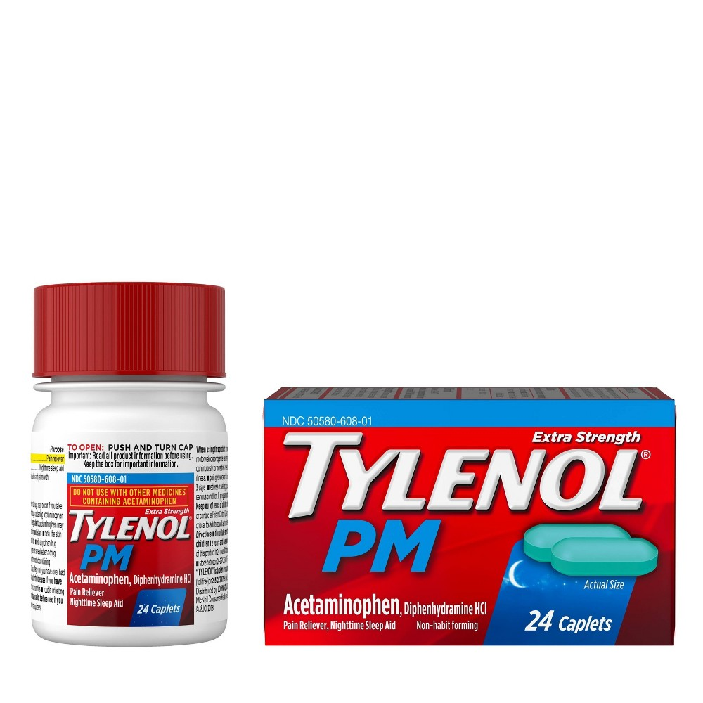 Tylenol PM Extra Strength Pain Reliever & Sleep Aid Caplets - Acetaminophen - 24ct Compare