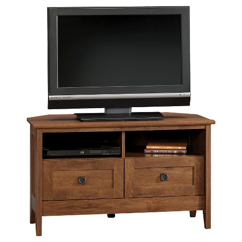 August Hill Corner Entertainment Stand Oiled Oak Sauder Target
