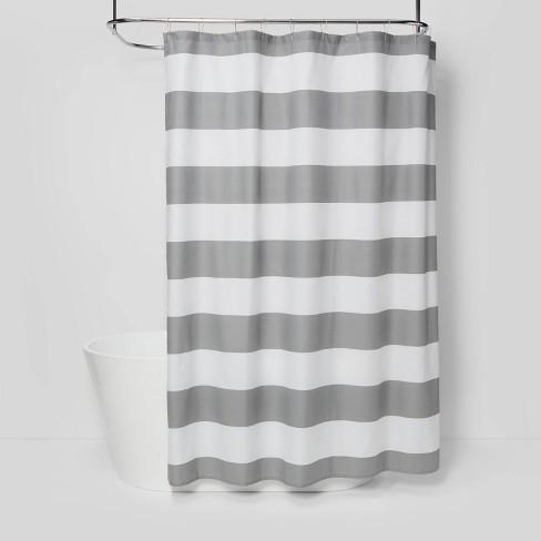 Striped Shower Curtain Gray Mist Room, Grey Striped Shower Curtain