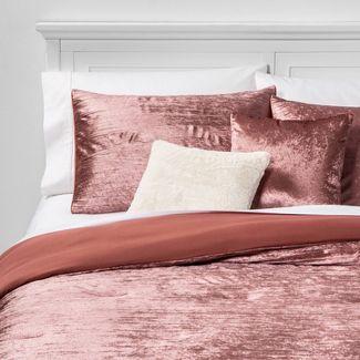 Full/Queen Cortina Crinkle Velvet 5pc Bed Set Rose