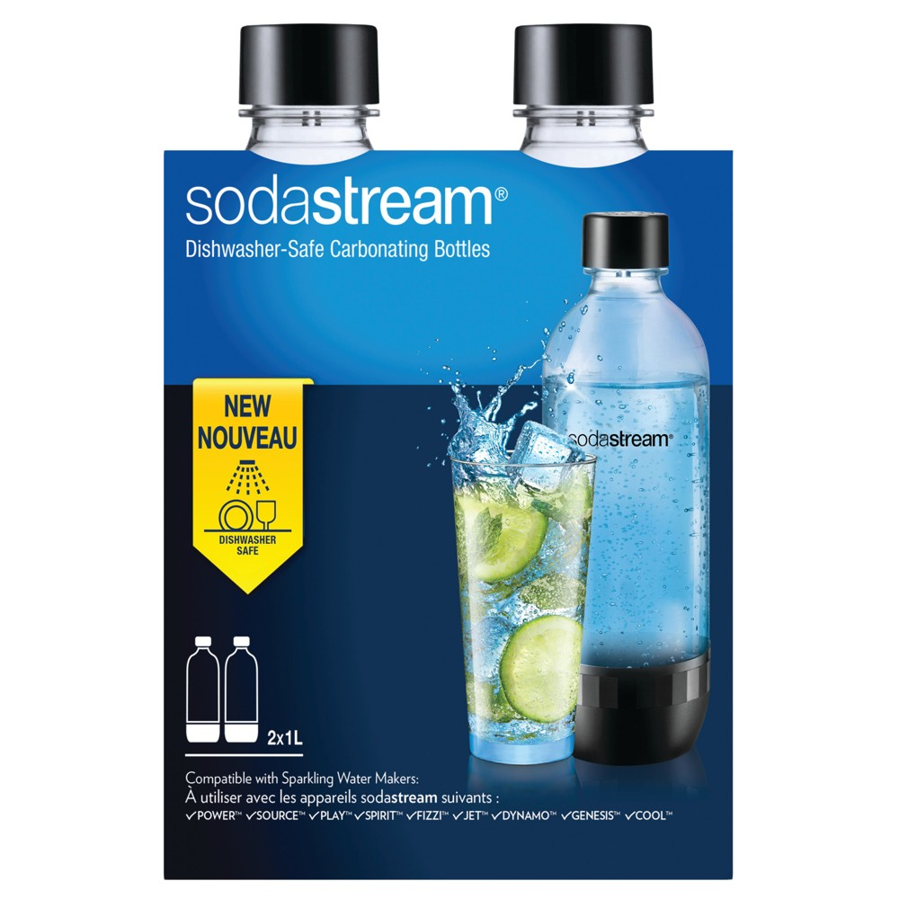 SodaStream Carbonating Bottle 2pk - Black, Clear