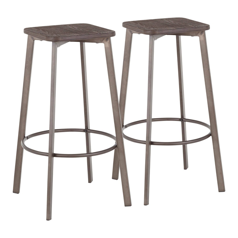 Fabulous Set Of 2 Clara Industrial Square Barstool Antiqueespresso Ncnpc Chair Design For Home Ncnpcorg