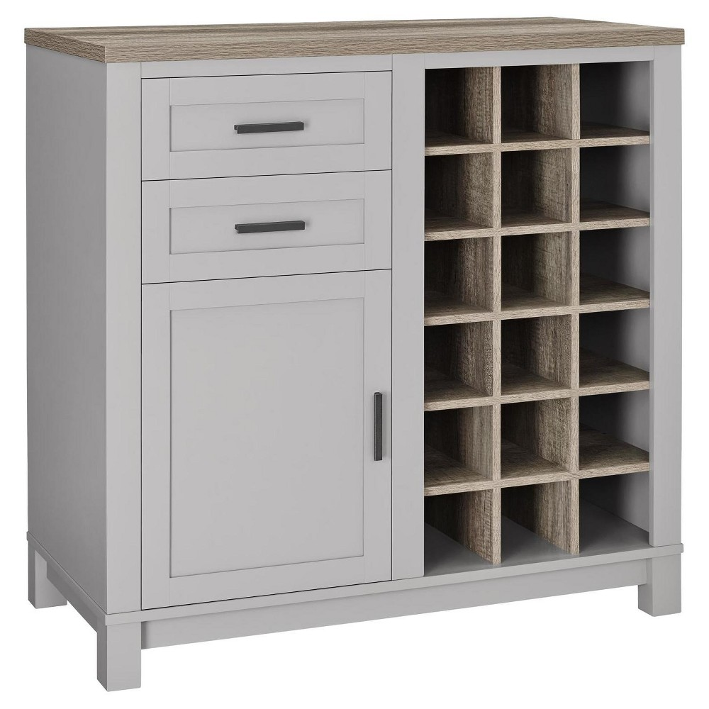 Paramount Bar Cabinet - Gray/Distressed Brown Oak - Room & Joy