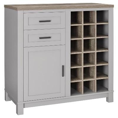Beau Paramount Bar Cabinet   Gray/Distressed Brown Oak   Room U0026 Joy