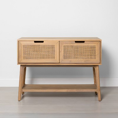Wood & Cane Console Table with Pull-Down Drawers - Hearth & Hand™ with Magnolia