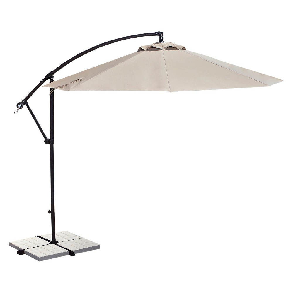 Image of Island Umbrella Santiago 10' Octagonal Cantilever Umbrella in Champagne (Beige) Olefin