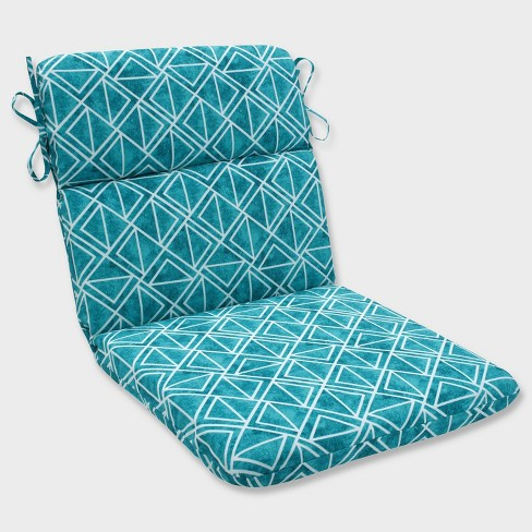 Lanova Peacock Rounded Corners Outdoor Chair Cushion Blue Pillow Perfect