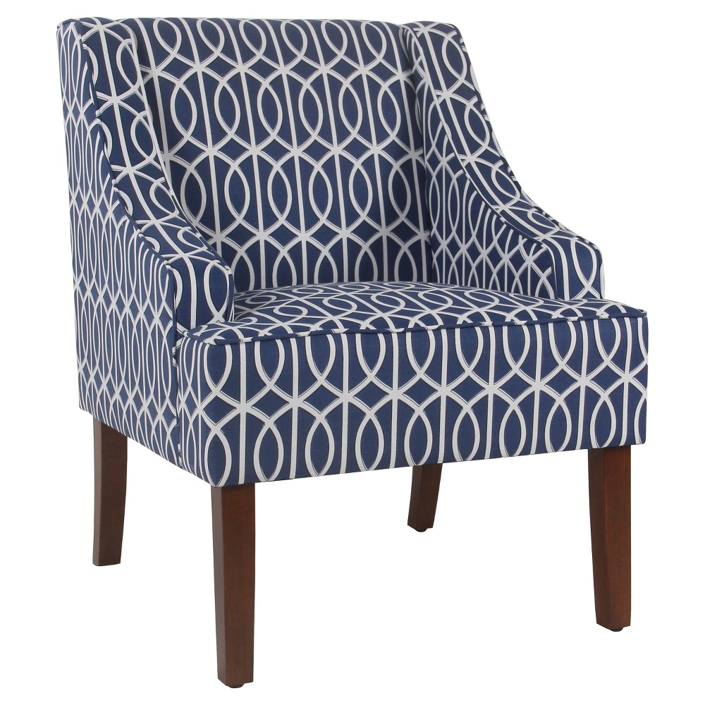 Classic Swoop Accent Chair - Blue Trellis - HomePop