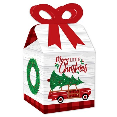 Big Dot of Happiness Merry Little Christmas Tree - Square Favor Gift Boxes - Red Car Christmas Party Bow Boxes - Set of 12
