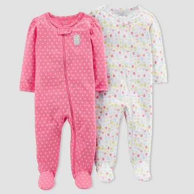 Baby Girls' 2pk Owl Sleep N' Play - Just One You® made by carter's Pink 6M