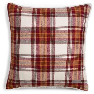 Edgewood Plaid Flannel Sherpa Throw Pillow Red (20 x20 )- Eddie Bauer®