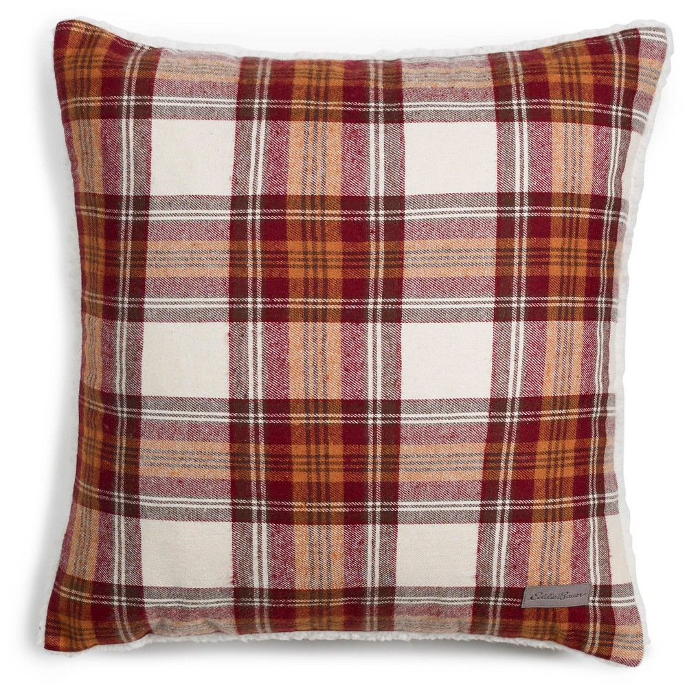 Edgewood Plaid Flannel Sherpa Throw Pillow Red (20