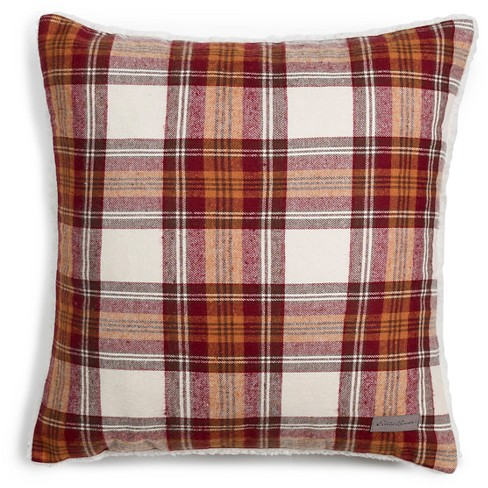 """Edgewood Plaid Flannel Sherpa Throw Pillow Red (20 X 20"""") - Eddie Bauer - image 1 of 4"""