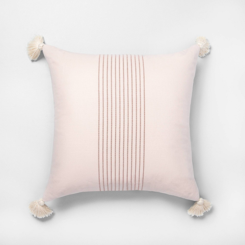 18 x 18 Tassel Stripe Throw Pillow Dusty Pink / Rose Gold - Hearth & Hand with Magnolia was $19.99 now $9.99 (50.0% off)