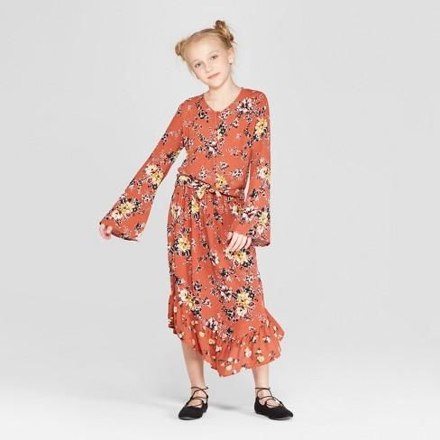511c0a4aa0f3 Girls' Floral Printed Midi Skirt - art class™ Red. Shop all Art Class