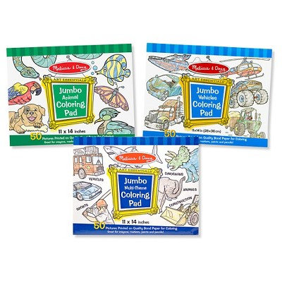 Melissa & Doug® Jumbo 50-Page Kids' Coloring Pads Set - Animals, Vehicles, and More