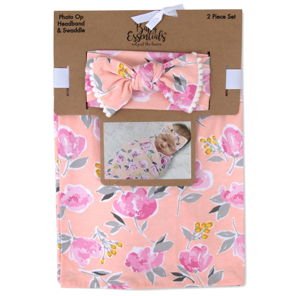 Image of Baby Essentials Primrose Floral Swaddle Blanket and Headband