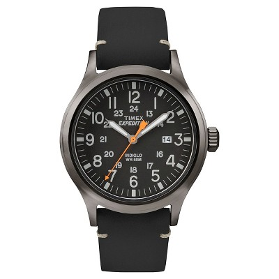 Men's Timex Expedition Scout Watch with Leather Strap - Gray/Black TW4B01900JT