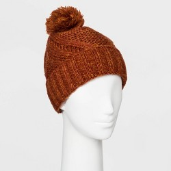 Women's Cable Cuffed Beanie with Lining & Pom - Universal Thread™ One Size