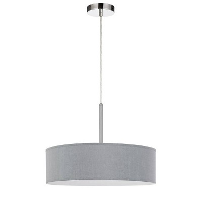 """18"""" x 18"""" x 14"""" LED Metal Dimmable Pendant with Diffuser and Hardback Fabric Shade Gray - Cal Lighting"""